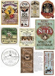 Vintage Halloween Witch Potion Bottle Labels Digital Download Collage Sheet Printable Aged Color Images. Etsy.