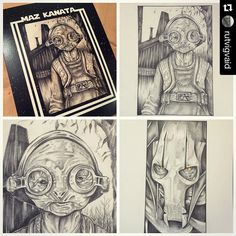 "#Repost @rutvigvaid with @repostapp. Hi guys Thought I'd share these shots of the 2 newly completed drawings: Maz Kanata - ""I've Seen Those Eyes"" - A4 Graphite on Mixed Media Paper General Grievous - ""The General"" - A4 Graphite / acrylic wash / coloured pencil on Cartridge And Arti's 8x10 Maz prints (that I made using the new Maz drawing) that she'll be signing over the weekend. They're on a matte surface which has quite a nice clarity and lustre. Pop on by to have a look tell us what you…"