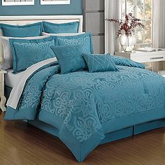 Curtis Damask 12-Piece Queen Comforter Set in Turquoise