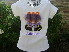 witch shoes and skirt personalized shirt Diy Halloween Shirts, Halloween Costumes, Halloween Ideas, Witch Shoes, Holiday Wear, Sewing Crafts, Sewing Ideas, Personalized Shirts, Toddler Fashion