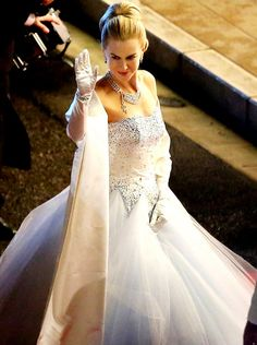 Princess dress: Nicole's gown was reminiscent of a wedding dress with its full tulle skirt and sparkling silver detailing