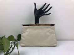 Vintage Ivory Leather Clutch Small Gold Chain, Gold Chains, Small Pen, Vintage Purses, Leather Clutch, Im Not Perfect, Ivory, Trending Outfits, Unique Jewelry