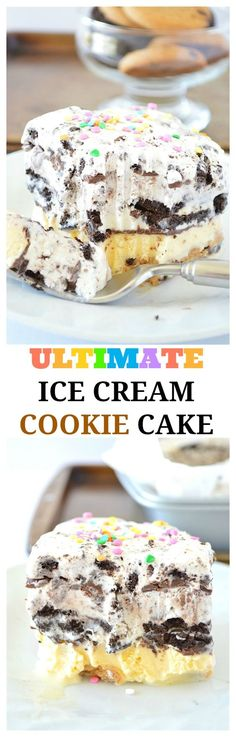 This is the Ultimate Ice Cream Cookie Cake! It's a dessert that's completely no-bake. The ice cream cake is packed with cookies in every layer! Loaded with chewy chocolate chip cookies chocolate sandwich cookies cookies and cream ice cream and chocolate chip cookie dough ice cream! This recipe will be a family favorite.