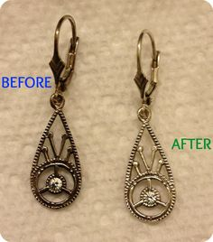 Cleaning Tarnished Jewelry {DIY}- This really works even on cheap stuff that turns green. I just saved a few favorites from the garbage!