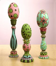 Make a colorful Easter centerpiece or table accent with a trio of wooden candlesticks painted and displaying their own Easter eggs. Go wild painting the segments of the candlesticks in different patterns. Easter Projects, Easter Crafts, Craft Projects, Craft Ideas, Easter Decor, Welding Projects, Easter Ideas, Spring Crafts, Holiday Crafts