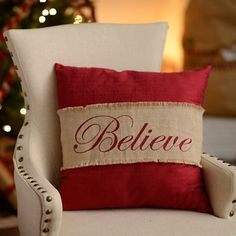 Cozy up with our Red Believe Burlap Pillow and some hot chocolate on a snowy night and you'll feel right at home. The lovely script and holiday colors add a bit of charm and warmth to your Christmas d (Diy Pillows Burlap) Burlap Christmas Decorations, Rustic Christmas, Christmas Home, Diy Christmas Pillows, Christmas Swags, Felt Christmas, Homemade Christmas, Christmas Snowman, Christmas Ornaments