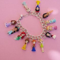 Bracelet with disney princesses in fimo polymer clay by Artmary2