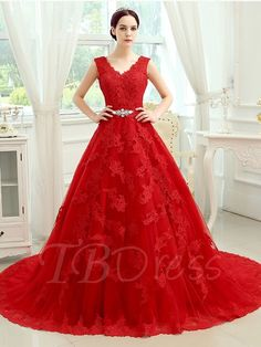Tbdress.com offers high quality Red V-Neck Lace-Up Court Train Lace Wedding Dress  Color Wedding Dresses  unit price of $ 212.99.