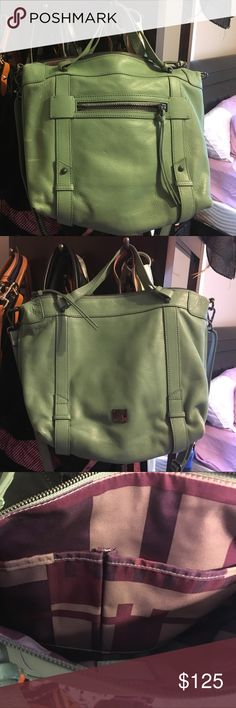 Kooba - sea green distressed Hobo/Crossbody Kooba - genuine leather - sea green distressed bag - slightly used, purchased at a discount with a light white chalk looking marks on the left side - see first pic Kooba Bags Crossbody Bags