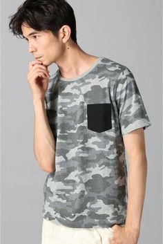 メイサイプリントポケットTシャツ  メイサイプリントポケットTシャツ 3888 インパクトのある迷彩柄に無地のポケットがアクセントを与えてくれるTシャツです 1枚着からシャツやジャケットのインナーと何かと使いまわしのきくアイテム モデルサイズ:身長:187cm バスト:86cm ウェスト:75cm ヒップ:91cm 着用サイズ:M