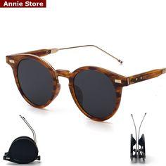 d43fce1c636 Peekaboo espejo de las mujeres de moda diseñador de la marca ronda gafas de  sol plegables