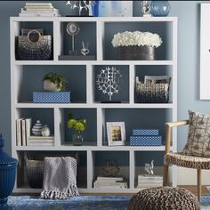 Get inspired by Eclectic Living Room Design photo by Room Ideas. Wayfair lets you find the designer products in the photo and get ideas from thousands of other Eclectic Living Room Design photos. Eclectic Living Room, Living Room Designs, Eclectic Decor, Contemporary Bookcase, Cube Unit, Bookcase Styling, Etagere Bookcase, Room Shelves, Living Room Bookcase