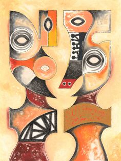 """CUBIST FIGURES #3 Charcoal pencil, gouache and oil on watercolor paper.  18"""" x 24"""""""