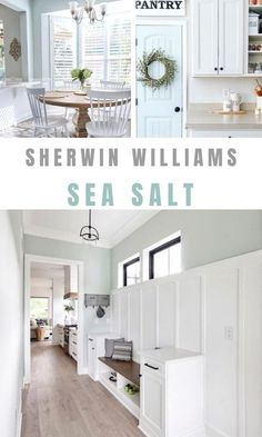 Are you familiar with the popurlar Sherwin Williams Sea Salt paint color? We can't wait to introduce it to you and share some coordinating colors. Dining Room Paint Colors, Farmhouse Paint Colors, Kitchen Paint Colors, Bedroom Paint Colors, Paint Colors For Home, Living Room Paint, My Living Room, Room Colors, Entry Paint Colors