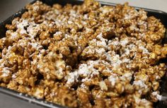 Reese's Popcorn...  pop a bag of popcorn, melt 1 cup of chocolate, 1/2 cup peanut butter, 1/4 cup butter. add a teaspoon of vanilla. mix into popcorn. place in refrigerator for 30 mins. sprinkle on some powdered sugar! enjoy!