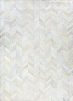 SMOKED CHEVRON by Mosaic Rugs - Luxury Handcrafted Ivory Patchwork Cowhide Rug - Modern Geometric Pattern Design - Mosaic Hides