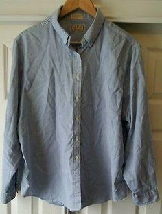 LL BEAN MENS XL Denim Blue Jean Shirt 100% Cotton Long Sleeve BUTTON UP Solid