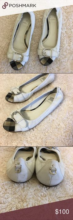 BURBERRY Authentic BURBERRY White Check Flats Peep Toed Buckle. Size • 37.5 / 7.5 Retail $400 Great Condition with a few marks Burberry Shoes Flats & Loafers