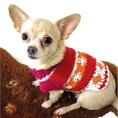 Cute Girly Red Flower Crochet Chihuahua Fashion Dress by myknitt, $33.00