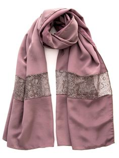 Astrid-Silk and Lace Stole-Mauve Salwar Suit Neck Designs, Embroidery Scarf, Modest Fashion Hijab, Stylish Dresses For Girls, Scarf Design, Indian Designer Wear, Shawls And Wraps, Scarf Styles, Womens Scarves