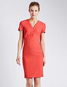 Textured Rear Zip Shift Dress
