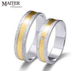 #Alianza #boda oro blanco y oro amarillo #Maiter 45mm brillante 0.015cts www.joyasmaiter.com