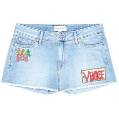 Mira Mikati 'Venice Beach' graphic appliqué denim shorts ($460) ❤ liked on Polyvore featuring shorts, blue, blue jean shorts, mira mikati, beach shorts, short jean shorts and blue denim shorts