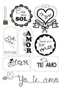 Muestra de etiquetas para San Valentín por Tutorial de Artesanías - Imprimible gratis en el blog