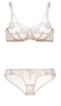 NET-A-PORTER.COM: AGENT PROVOCATEUR, Bethanie embroidered tulle underwired bra and Bethanie embroidered tulle briefs, Designer colour - Ivory