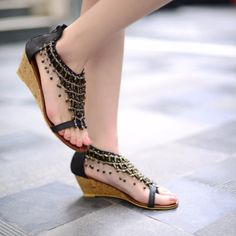 8bb83e58822 Trendy Design Ankle Strap Wedge Sandals Cute Wedges Shoes