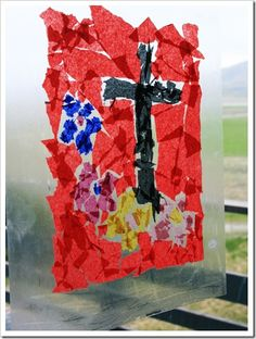 'stained glass' for kids to make out of contact paper & tissue paper Calvary Cross, Easter Countdown, Good Friday Crafts, Jesus Stories, Easter Projects, Crafty Kids, Contact Paper, Tissue Paper, Sunday School