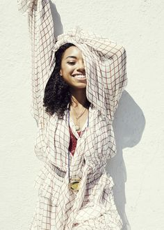 """Actress Logan Browning Talks Dear White People and More: Off-screen, there are similarities between the star and her alter ego. Logan openly talks about her struggle to find her place—""""I'm constantly searching for my identity in groups of people""""—there's also the fact that she isn't shy about publicly expressing her opinions. -- Chloé dress and Foundrae short necklaces  
