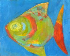 """laurie breen, fish eye.  mixed media on wood panel  8"""" x 10""""  95.00"""