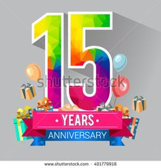 15 Years Anniversary celebration logo, 15th Anniversary celebration, with gift box and balloons, colorful polygonal design. - stock vector