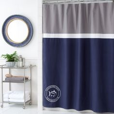 The Southern Tide Starboard Shower Curtain completes all nautical-themed decor.