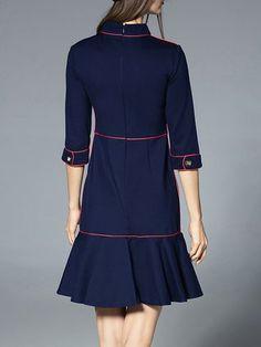Blue Cotton-blend Simple A-line Midi Dress