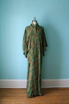 Silk Kimono   Vintage Art Deco   Long Green Brown Geometric Pattern   Long Silk  Robe 70da121bc