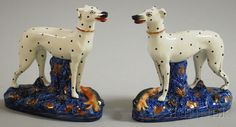 Pair of Staffordshire Ceramic Whippets | love the dots