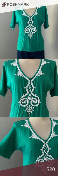 """Chico's Dolman Embroidered Top Vibrant green with delicate white embroidery along the V-neckline turns this dolman into an feminine eye catching favorite. Super soft. In excellent condition. Chico's size 0 - equivalent to size small / 4. Length: 24"""" 60% cotton, 40% rayon. Chico's Tops"""