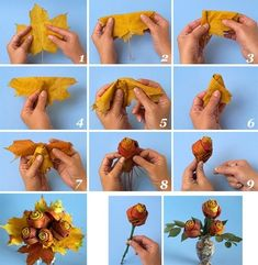 DIY Leaf Flowers flowers diy crafts home made easy crafts craft idea crafts ideas diy ideas diy crafts diy idea do it yourself diy projects diy craft handmade Save On Crafts, Diy And Crafts, Crafts For Kids, Autumn Crafts, Nature Crafts, Leaf Crafts, Flower Crafts, Leaf Flowers, Paper Flowers
