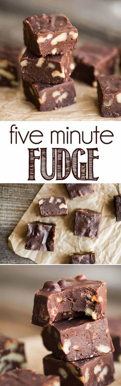Five Minute Microwave Fudge is a quick and sinfully delicious homemade fudge rec. Five Minute Microwave Fudge is a quick and sinfully delicious homemade fudge recipe. This easy fudge will become a h Fudge Recipes, Candy Recipes, Chocolate Recipes, Sweet Recipes, Cookie Recipes, Köstliche Desserts, Delicious Desserts, Dessert Recipes, Drink Recipes