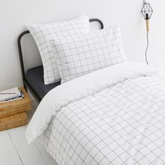 Ponlok Check Print Organic Cotton Duvet Cover AM.Chic and simple, this check-print duvet cover in soft organic cotton is a great addition to any boudoir. Team it up with the rest of the bedding in. Bed Duvet Covers, Duvet Sets, Childrens Bed Linen, Uni Room, Room Ideas Bedroom, Dream Bedroom, Bedroom Stuff, Room Decor, Coton Bio
