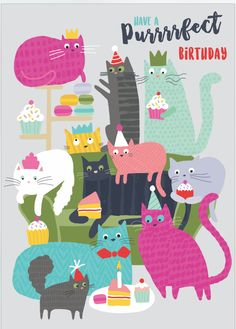 Charlotte Pepper is an experienced designer that loves to experiment with texture, natural forms and mark-making. The patterns she uses in her illustrations bring her characters to life. Find more of her work on her online portfolio. #illustration #cats #birthday #card #cake #charlottepepper