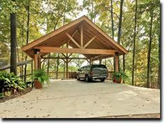 wooden carports | Timber Framed Carport with Queen Post Truss . We need this for our camper!