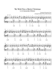 We Wish You a Merry Christmas by Traditional Piano Sheet Music | Intermediate Level