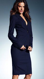 I love a navy and white suit. Very slimming and totally gorgeous ...