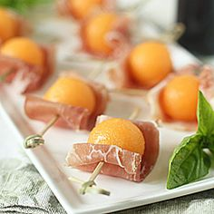 Prosciutto-Cantaloupe Bites-- a classic starter for our end of summer Sunday dinner.