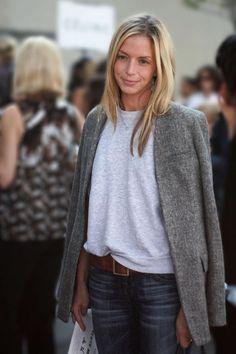 simple & chic tweed blazer over gray tee, tomboy style, #minimalist #fashion