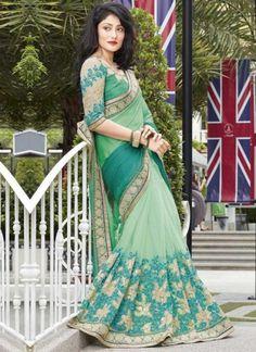 Sea Green Embroidery Work Chiffon Fancy Designer Wedding Half Sarees http://www.angelnx.com/Sarees/Designer-Sarees