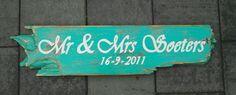 Houten Bruiloft bord